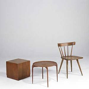 Paul mccobb winchendon etc windsor chair together with three teak occasional tables chair with remains foil tag chair 30 x 21 x 20