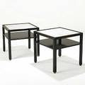 Edward wormley dunbar pair of ebonized wood marble and brass sofa tables brass d labels 24 12 x 25 12 sq
