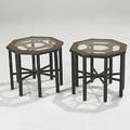 John widdicomb attr pair of oil drop and enamel occasional tables unmarked 15 12 x 17 sq