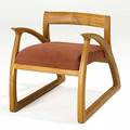 Thomas moser attr sculpted teak and microfiber lounge chair unmarked 24 x 23 x 32