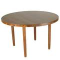 Studio modern laminated solid maple table on turned wood legs unmarked 29 x 47 dia