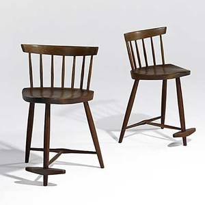 George nakashima pair of walnut and hickory mira stools signed with clients name loss of height to both 29 12 x 17 12 x 18
