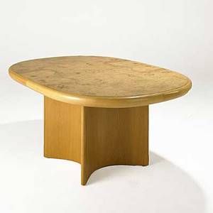 Vladimir kagan vladmir kagan designs inc olive burl and oak extension dining table foil label 29 12 x 67 12 x 48 leaf 22