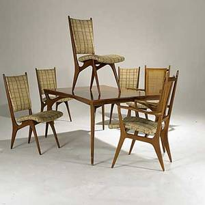 Vladimir kagan dreyfuss six walnut cane and upholstered dining chairs and bookmatched walnut dining table three inserts unmarked armchair 41 x 24 x 24 table 29 x 63 x 40 and inserts