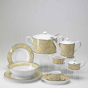 Michael graves alessi thirtytwo piece deanery gardens porcelain luncheon set includes eight tea cups and saucers teapot creamer sugar two 10 serving bowls five 8 34 bowls covered soup ture