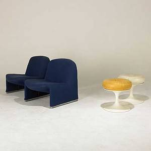 Modern pair of italian lounge chairs together with a pair of swedish stools lounge chair 27 12 x 25 x 33 stools 17 x 17 dia