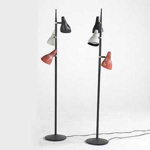Lightolier pair of floor lamps with adjustable plastic shades both pieces marked