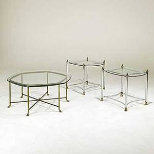 Mastercraft brass and glass coffee table together with chromed steel glass and brass sofa tables unmarked coffee table 18 x 42 12 dia sofa tables 23 x 27 x 23
