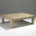 Karl springer embossed leather and brass coffee table signed karl springer 1985 16 x 48 x 36