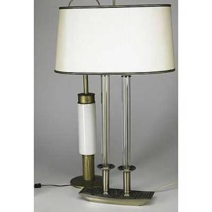 Tommi parzinger two lamps stiffel brass and ceramic and hollywood regency glass and enameled metal including original shade taller 42 34