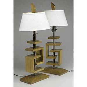 Style of james mont pair of birch and brass table lamps with original shades each 33 x 12 x 7