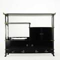 Style of james mont lacquered wood and brass elegant tall cabinet unmarked 60 x 72 x 19 14