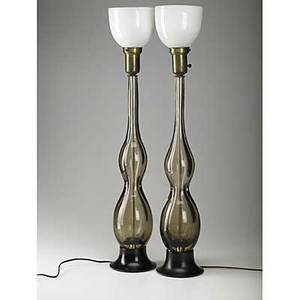 Seguso pair of murano glass table lamps with milk glass shades paper label murano made in italy 34