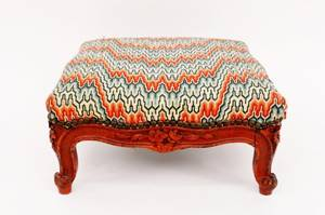 Footstool with Flame Stitch Upholstery