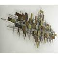 Style of c jere mixed metal panels and welded nails wall sculpture inscribed j kirkwood and mcmining 1987 38 x 76 x 5
