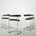Anton lorenz thonet tubular steel and velour bar stools fabric labels 40 x 24 x 22