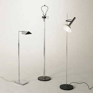 Koch  lowy robert sonneman george kovacs group of three chromed steel and metal floor lamps tallest 63 x 11 14 dia