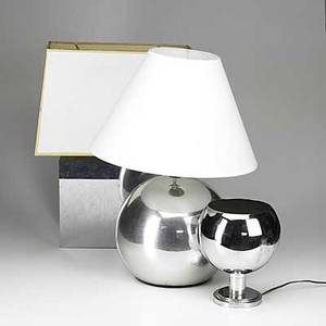 Modern lighting three table lamps springer style aluminum ball mirrored rectangle and chrome up light tallest 23