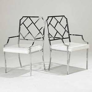 Milo baughman attr pair of chromed steel armchairs unmarked 38 x 21 12 x 23