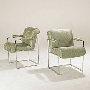 Milo baughman thayer coggin pair of chromed steel and upholstered armchairs unmarked 32 12 x 22 12 x 25