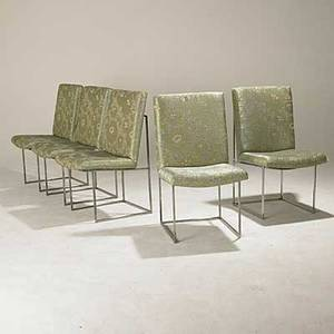 Milo baughman thayer coggin set of five chromed steel upholstered dining chairs unmarked 36 x 19 12 x 22