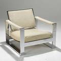 Milo baughman thayer coggin unusual chromed steel and wool lounge chair unmarked 27 x 30 x 33