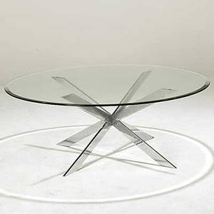 Pace chromed steel and glass coffee table unmarked 18 x 48 dia