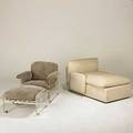 Pace upholstered chaise together with leather and lucite lounge chair foil label to chaise chaise 32 x 38 x 60