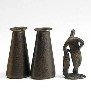 Carl aubuock etc pair of karl aubuck patinated vases together with a figurine of a man mid20th c vases marked tallest 5