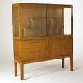 Austrian art deco quilted and curly maple china cabinet with illuminated interior unmarked 62 12 x 53 x 15 12