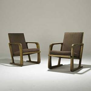 Style of kem webber pair of birch and wool lounge chairs mueller furniture co grand rapids brass labels 33 12 x 23 x 34
