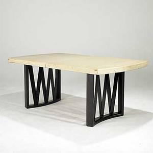 Paul frankl johnson furniture co cork top dining table on slatted mahogany base one leaf 29 14 x 72 x 42 12 leaf 12