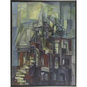 American abstract paintings john david rigsby american 19341993 acrylic on canvas destruction at depth framed signed and titled 47 12 x 59 12 cubist oil on canvas cityscape by unknow