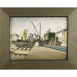 Thomas j strickland american 19321999 watercolor on board elizabeth port 1953 framed  11 x 15 two untitled oil on canvas portraits all signed 16 x 12 and 13 12 x 10 12