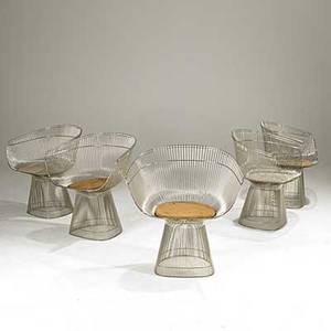 Warren platner knoll five nickel plated armchairs unmarked 28 12 x 26 x 21