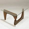 Style of isamu noguchi wood and glass coffee table unmarked 15 12 x 36 x 36 x 36