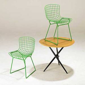Hans bellman harry beroia knoll occasional table together with pair of childs chairs table 21 x 24 dia chairs 24 x 16 x 16