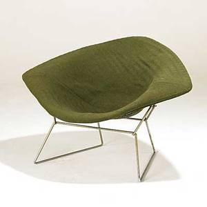 Harry bertoia knoll diamond chair chromed steel and wool knoll fabric label 27 12 x 44 x 31