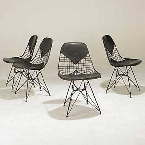 Charles  ray eames herman miller set of four bikini side chairs on eiffel tower bases unmarked 31 x 18 12 x 23