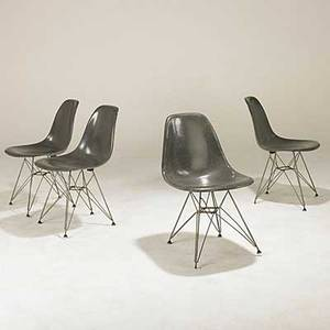 Charles  ray eames herman miller set of four fiberglass side chairs on eiffel tower bases paper labels stamped july 1 1957 31 x 18 12 x 23