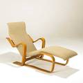 Marcel breuer isokon chaise lounge laminated birch frame and wool upholstery unmarked 31 x 26 x 53