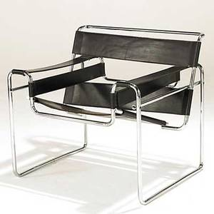 Marcel breuer knoll leather and stainless steel wassily lounge chair unmarked 29 x 31 x 27