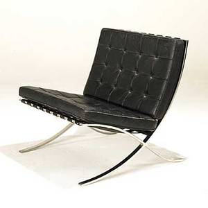Mies van der rohe knoll barcelona chair chromed steel and leather upholstery unmarked 29 x 29 12 x 28