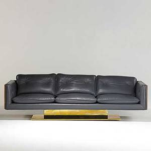Warren platner lehigh leopold spinneybeck leather walnut and brass sofa unmarked 28 x 92 34 x 31 12