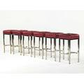 Pace six chromed steel and leather barstools unmarked 28 x 14 12 sq