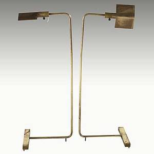 Cedric hartman pair of brass and bakelite adjustable floor lamps 1980s each stamped cedric hartman made in usa 35 x 13 x 11
