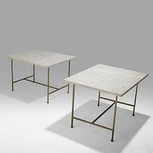 Paul mccobb calvin pair of brass and travertine sofa tables unmarked 20 14 x 24 x 30