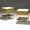 Paul mccobb calvin pair of bleached mahogany brass and glass erwin collection nightstands brass labels 24 14 x 20 sq