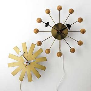 George nelson howard miller birch brass and enameled alunimum ball and asterick wall clocks 1950s both with decals largest 14 x 12 34