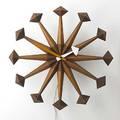 George nelson howard miller twelvespoke walnut and enamel wall clock 1950s model 2293 decal 18 x 4 34